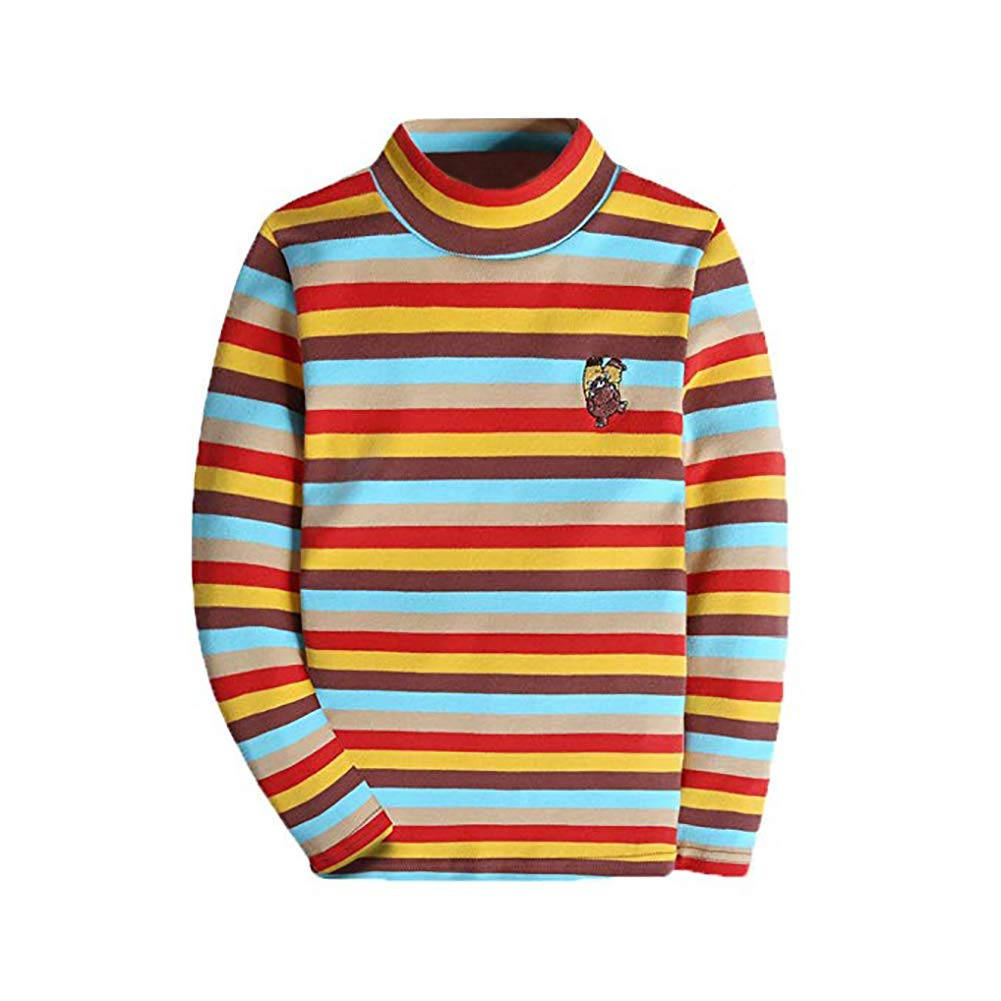 BASADINA Boys Long Sleeve T Shirt Kids Tops Turtleneck Pure Cotton Striped Clothes for Boys 4-14 Years