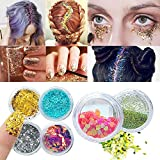 Becann Body Glitter Cosmetic Glitter Makeup for Face Body Hair and Nail 12pcs (Sliver)