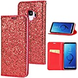 Stysen Galaxy S9 Flip Case,Galaxy S9 Glitter Wallet Case,Elegant Noble Stylish Red Shiny PU Leather Bookstyle Wallet Protective Case Cover for Samsung Galaxy S9-Red