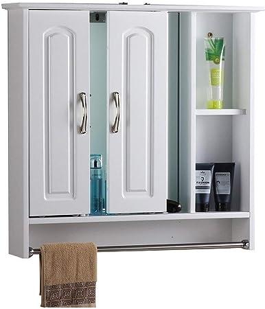 Armarios con espejo de baño con Caja de luz sólido Espejo de Pared de Madera Espejo Oculto baño con el Estante (Color : Blanco, Size : 90 * 13 * 75cm): Amazon.es: Hogar