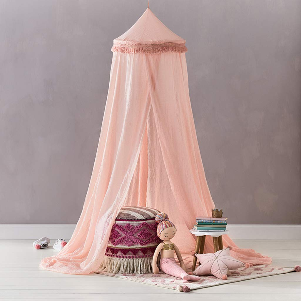 OldPAPA Bed Canopy Mosquito Net Curtains for Children Bed - Toddler Chiffon Crib Canopy Princess Round Dome Tassel Playing Reading Tent Castle Decoration, Pink