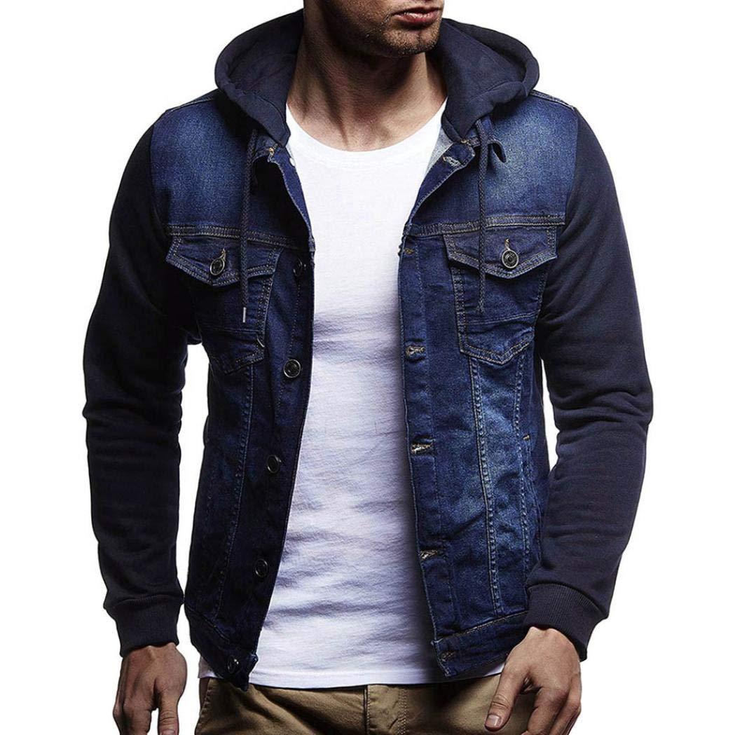 GREFER Fashion Mens' Autumn Winter Jacket Hooded Vintage Distressed Demin Tops Coat Outwear