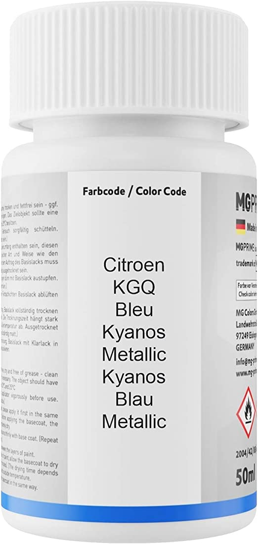 Mg Prime Autolack Lackstift Set Für Citroen Kgq Bleu Kyanos Metallic Kyanos Blau Metallic Basislack Klarlack Je 50ml Auto