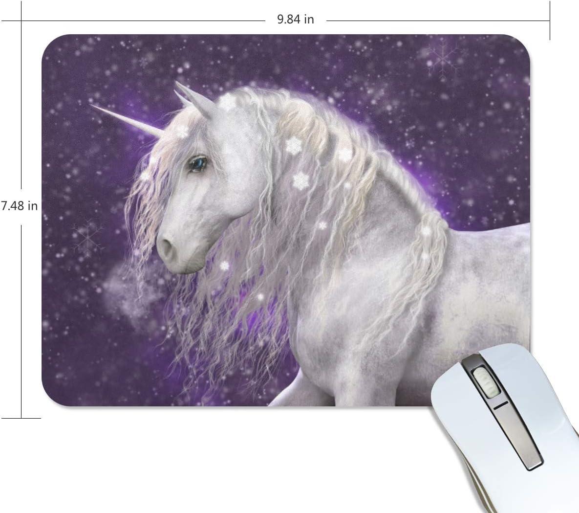 Rulyy - Alfombrilla de ratón, diseño de unicornio con copo de nieve, base de goma antideslizante y superficie de textura, rectangular, para ordenador portátil, para la oficina o el hogar