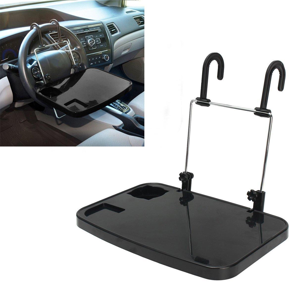 Soporte de pedestal portá til de coches plegable con bandeja para portá tiles, tabletas, PC, iPad, comidas, bebidas y tazas, 35 x 23 x 2 cm, de color negro DaoRier TRTAZ11A