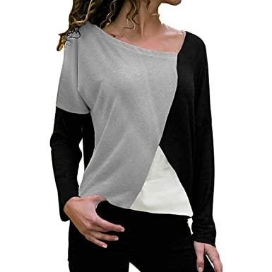 17c6ea54c19 YOMXL Women Color Block Loose Tops Fashion Patchwork Office Blouse ...