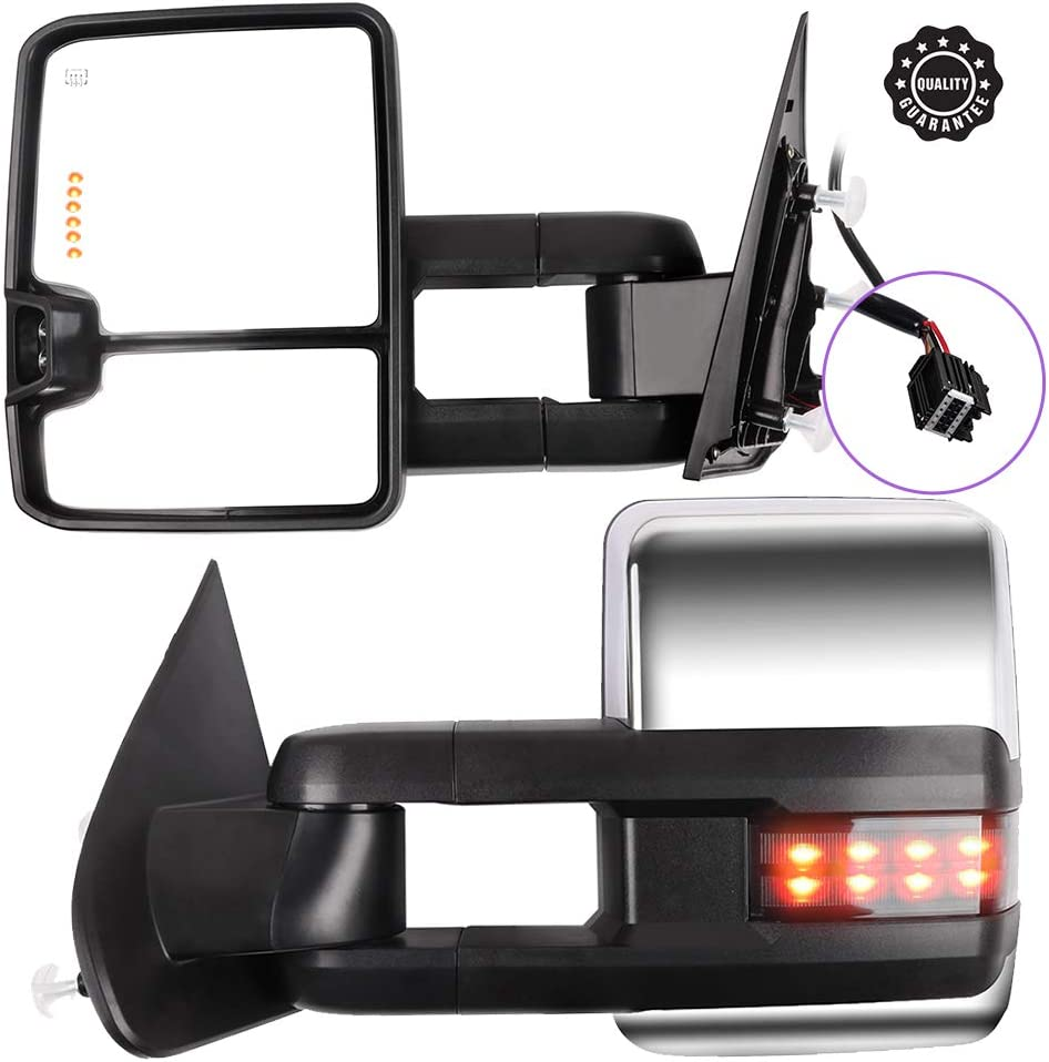 Ineedup Tow Mirrors Rearview Mirrors Fit for 2015-2018 Chevy Silverado 2500//3500 HD 2014-2018 GMC Sierra 1500 2015-2018 GMC Sierra 2500//3500 HD with Heated Turn Signal Light ADP06519101S