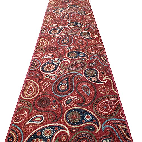 Custom Cut 22-inch Wide by 10-feet Long Runner, Red Paisley Floral Non Slip, Non-Skid, Rubber Backed Stair, Hallway, Kitchen, Carpet Runner Rug - Choose Your Width by Length