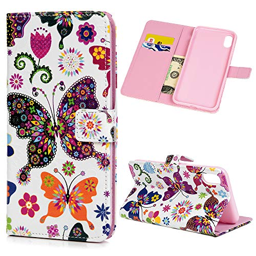 Price comparison product image iPhone Xs Max Case,  3D Printed Floral Butterfly Shock-Absorption Flip Folio Kickstand Feature PU Leather Notebook Wallet Cover with ID Credit Card Pockets Magnetic Protective Cover,  Flower Butterfly