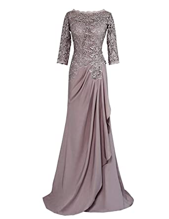 bf1713c96550 Mother of The Bride Dresses A-line 3 4 Sleeves Chiffon Lace Wedding Party