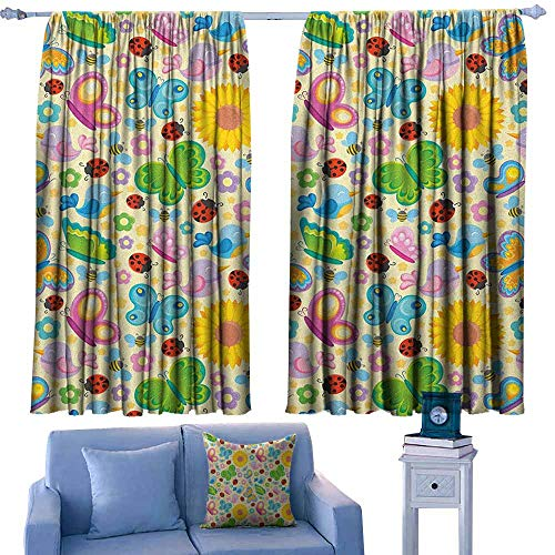 GAAGS Outdoor Curtains,Nursery Spring Themed Vivid Colored Seasonal Elements Blooming Flowers Ladybugs Bees Birds,Waterproof Patio Door Panel,W72x72L Inches Multicolor