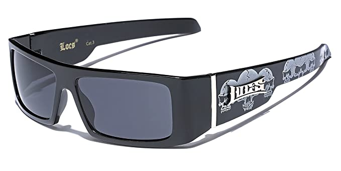 bab751269a9 Amazon.com  OG Locs Men s Square Frame Gangster Shades Dark Lens Sunglasses  - Black Skull  Clothing