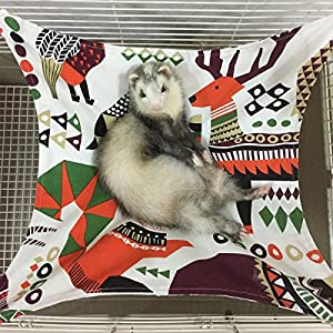 Margelo Pet Cage Hammock, Cat Ferret Hammock Bed for Bunny/Rabbit/Rat/Small Animals 1