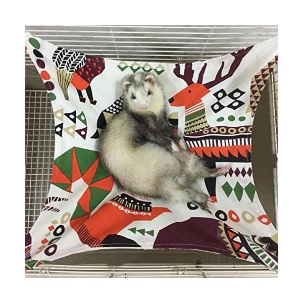 Margelo Pet Cage Hammock, Cat Ferret Hammock Bed for Bunny/Rabbit/Rat/Small Animals 1