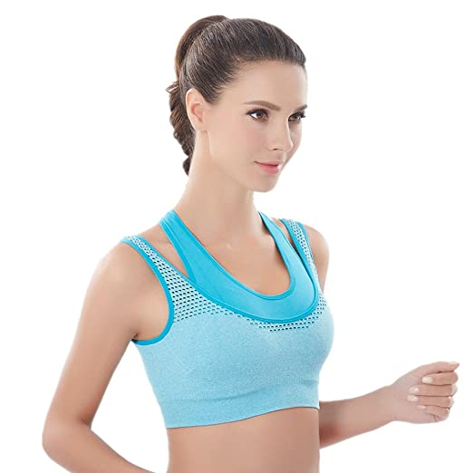 670cf647ca63 Women Sports Bras - Seamless Padded Push Up Bra Wirefree Underwear Vest  Breathable Shockproof Support for