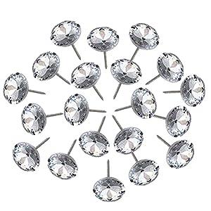 150Pcs Diamond Crystal Upholstery Nails Tacks Studs Pins for Furniture Sofa Headboard Wall Decor 20mm Dia (20mm) (20mm)