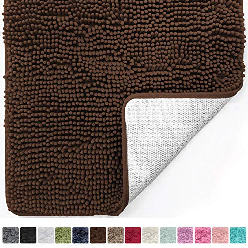 Gorilla Grip Original Luxury Chenille Bathroom Rug Mat (44 x 26), Extra Soft Absorbent Large Shaggy Rugs, Machine Wash/Dry, Perfect Plush Carpet Mats Tub, Shower Bath Room (Brown)