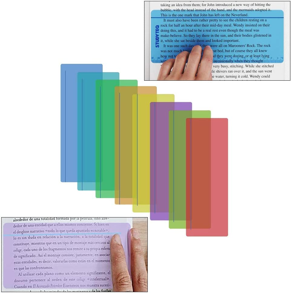 8 Standard Size and 8 Large Size Reading Strips Reading Ruler Reading Guided Strips Window Reading Ruler Dyslexia Overlay Ruler to Reduce Visual Stress 16 Pack