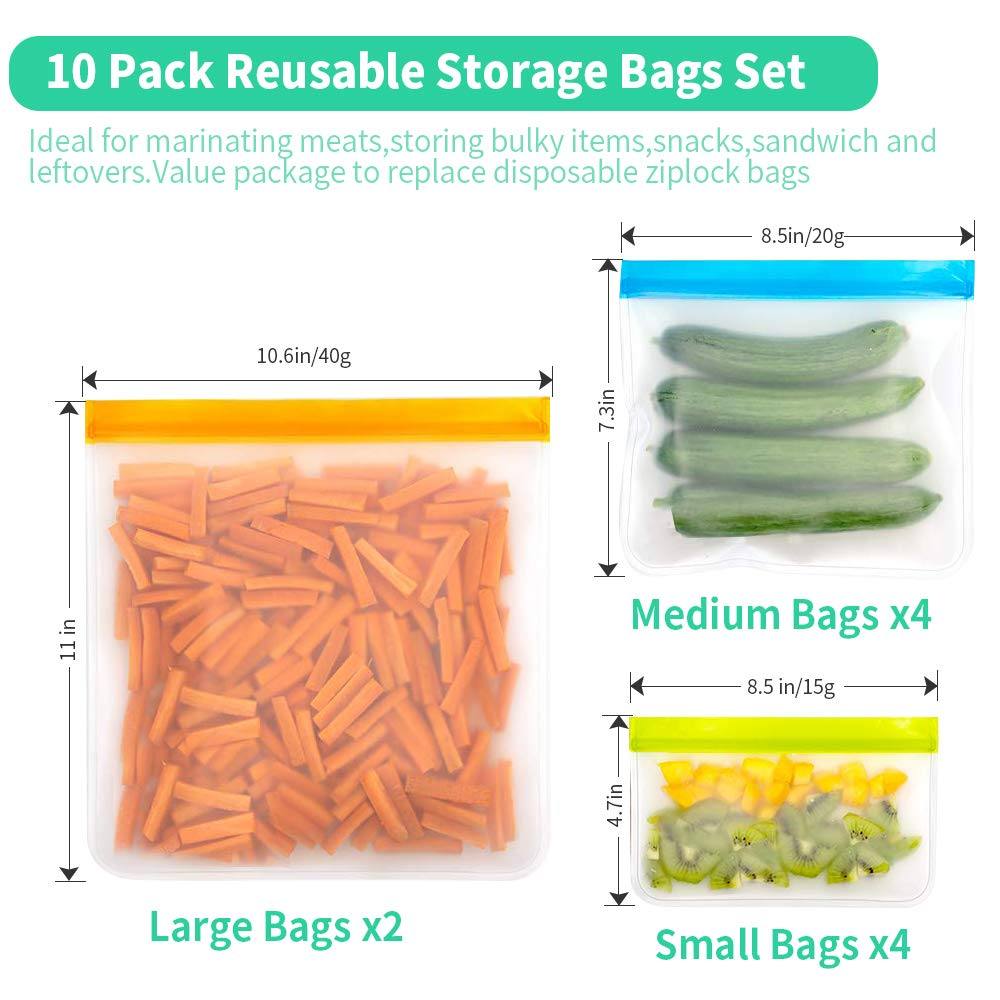 Reusable Sandwich & Snacks Bags, 10 Pack Ziplock Lunch Bags BPA-FREE PEVA Leakproof Washable Freezer Bags Silicone Food Storage Bags