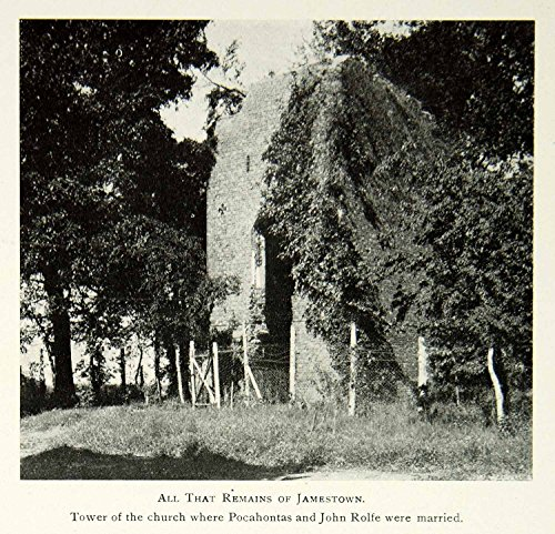 1902 Print Jamestown Virginia Colony Church Tower Ruins Historic Landmark BVM1 - Original Halftone - Virginia Landmark
