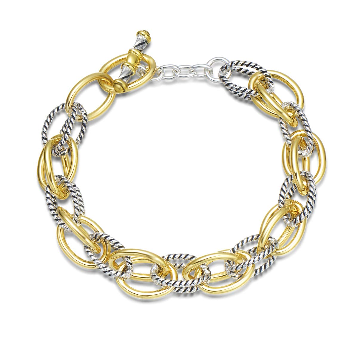 UNY Bracelet Designer Brand Inspired Antique Women Jewelry Double Cable Link Wire Vintage Valentine (2 Tone)