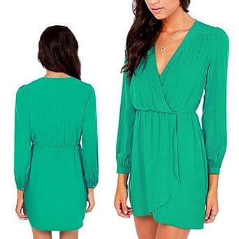 Donna Sexy FUNOC fondi V-taglio Mini donne vestito lungo braccio Casual  ball dell abito vestimento nero e verde vestito da sera festa giallo verde  L  ... 0a4bc4dad45