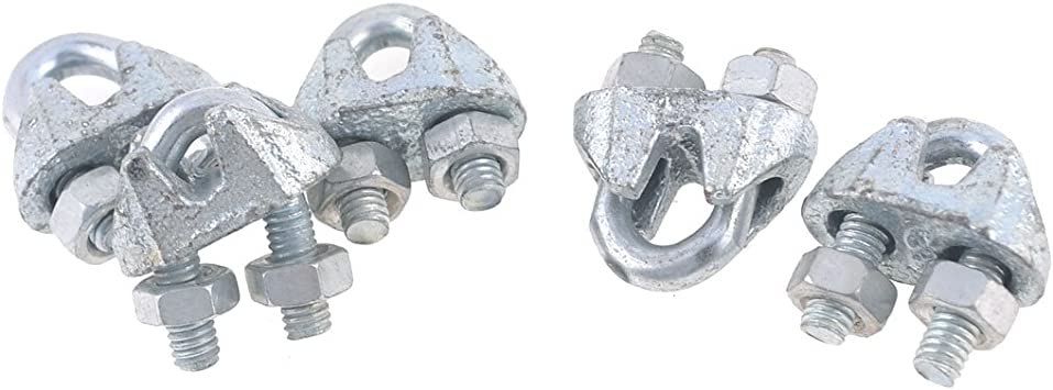 Aexit 5pcs Silver Chain /& Rope Fittings Tone M5 304 Stainless Steel Saddle Clamp Cable Clip for Wire Rope Clips Wire Rope
