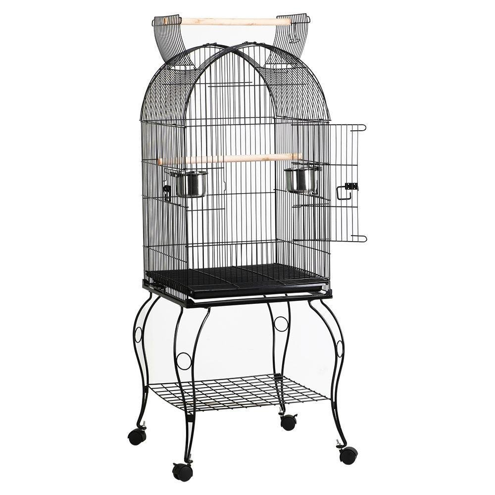 Yaheetech 59'' Rolling Standing Medium Dome Open Top Bird Cage for Parrots Cockatiels Sun Conures Parakeets Lovebirds Budgies Finches Canary Pet Bird Cage with Removable Stand by Yaheetech