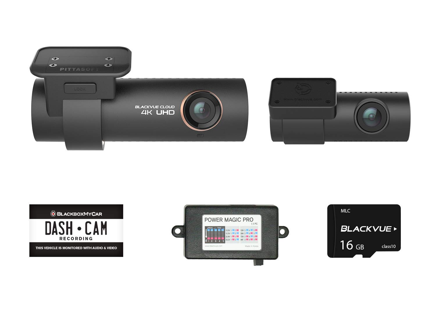 Blackvue DR900S-2CH with Power Magic Pro Hardwire Kit 2-Channel | 4K Dashcam | 16GB SD Card