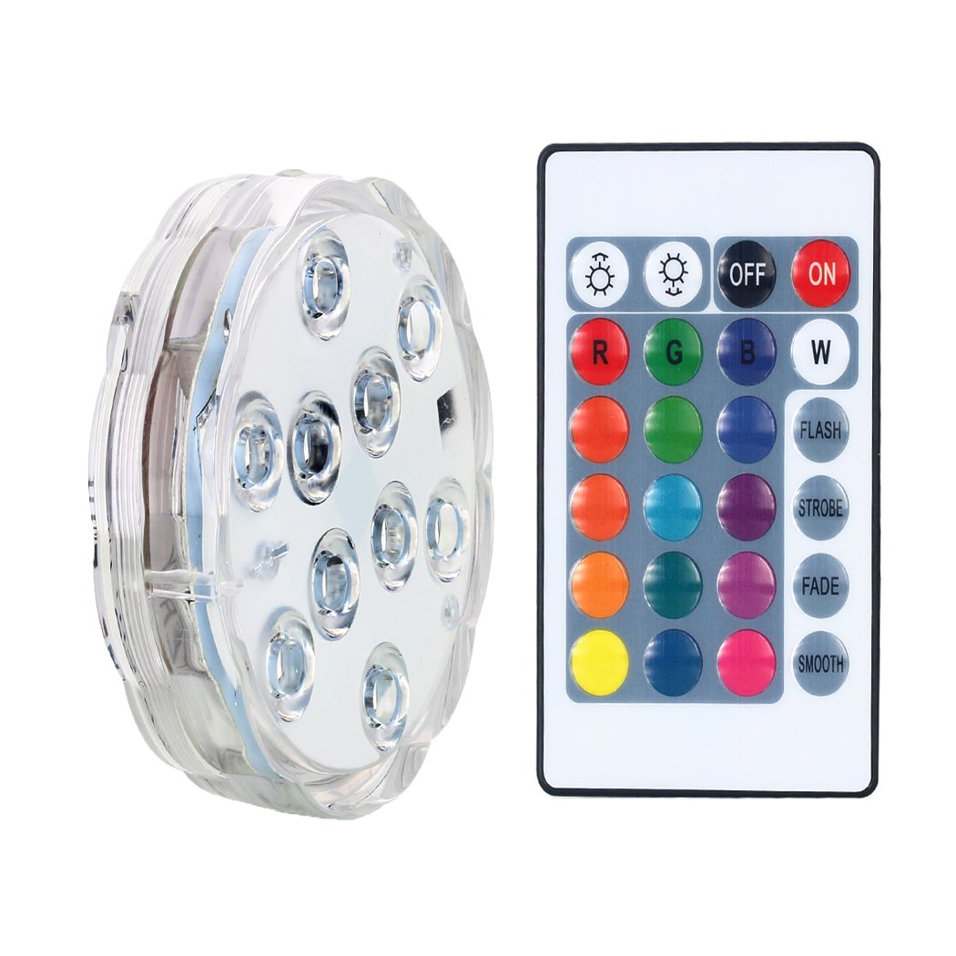 AICase Remote Controlled Submersible Led Lights, Waterproof 16 Colors RGB Battery Powered Versatile Function Light with 10 LEDs for Vase Base, Floral, ...