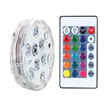 AICase Remote Controlled Submersible Led Lights, Waterproof 16 Colors RGB Battery Powered Versatile Function Light