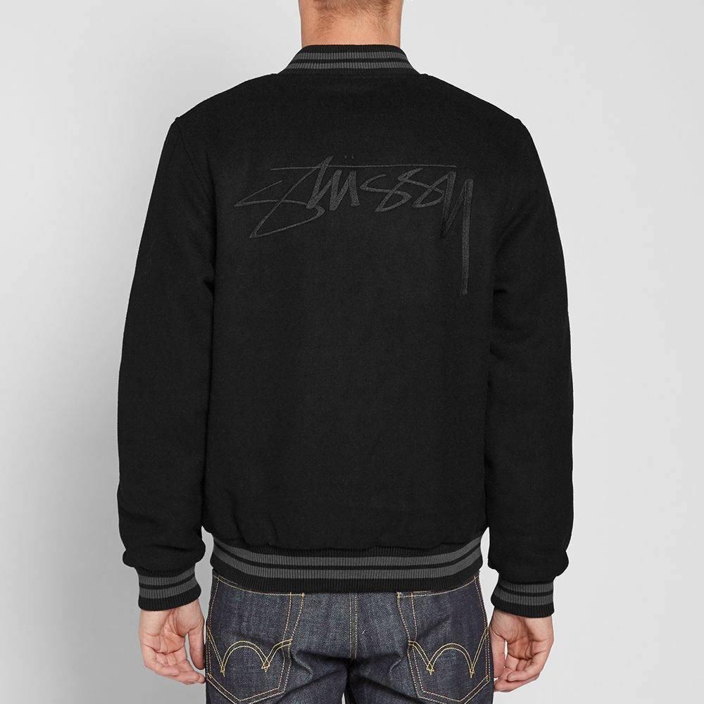 8d3311fd5636 Stussy Stock Varsity Jacket - Black-M  Amazon.co.uk  Clothing