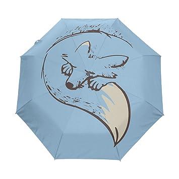 BENNIGIRY Paraguas Fox Sleep UV - Sombrilla Ligera y antiviento, Reverso Elegante 3 Pliegues,
