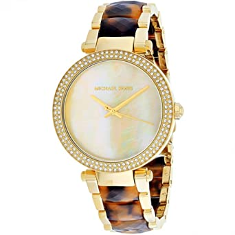 f348a2ea2254 Image Unavailable. Image not available for. Color  Michael Kors Parker  Glitz Crystals Mother of Pearl Dial Gold Tortoise Women s ...