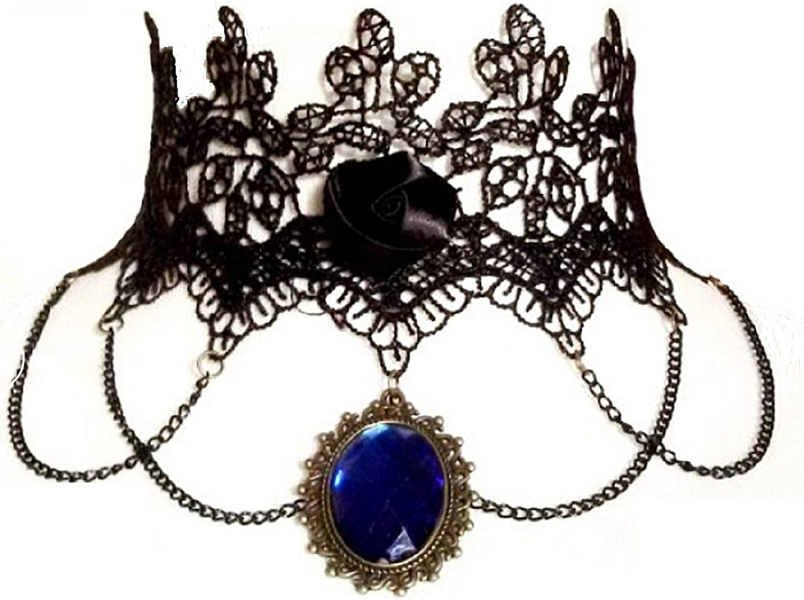 Legisdream Macramé Collar de Encaje Mujer Gargantilla Piedra Azul Colgantes góticos Color Negro