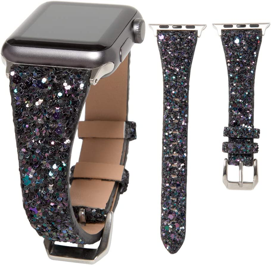 HAYUL Glitter Band Compatible with Apple Watch 38mm 40mm 42mm 44mm, Luxury Shiny Bling Leather Strap Wristband for iWatch Series 6/5/4/3/2/1 SE Women Girls (Black, 38mm/40mm)