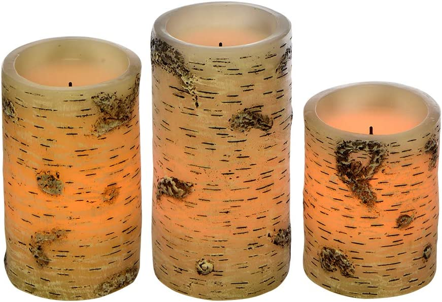 "Sterno Home CGT13410WH3 LED Flameless Candle Trio, White Birch Finish, Set of 3 4"", 5"", and 6"" Heights"