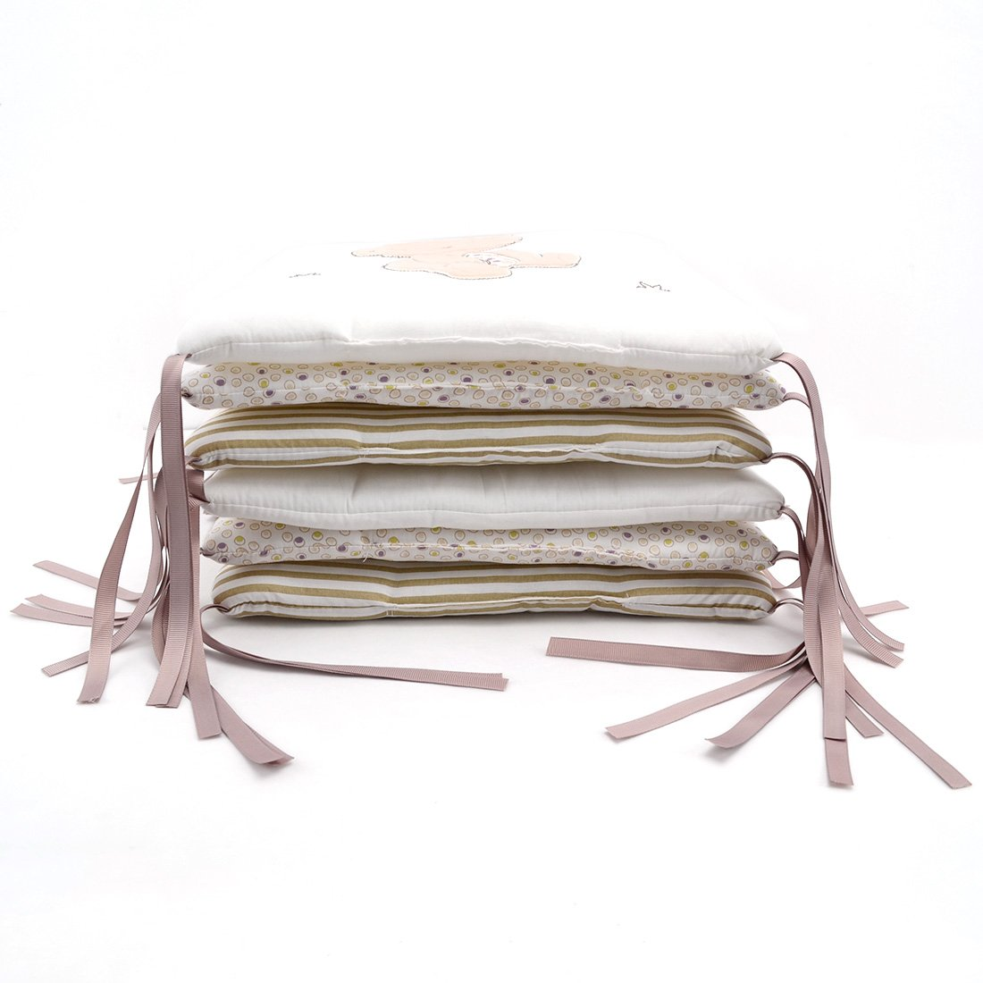 Hengfey Cotton Breathable Baby Crib Bumpers Beige 6 PCS by FREAHAP R (Image #4)