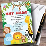 Bright Safari Jungle Animals Childrens Birthday Party Invitations