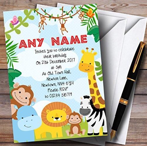 Bright Safari Jungle Animals Childrens Birthday Party Invitations by The Card Zoo