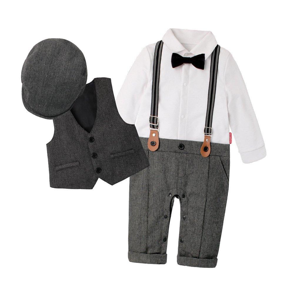 Decstore 3pcs Manga Larga Mameluco+Chaleco+Sombrero Boda Smoking Conjunto de Ropa para Bebés