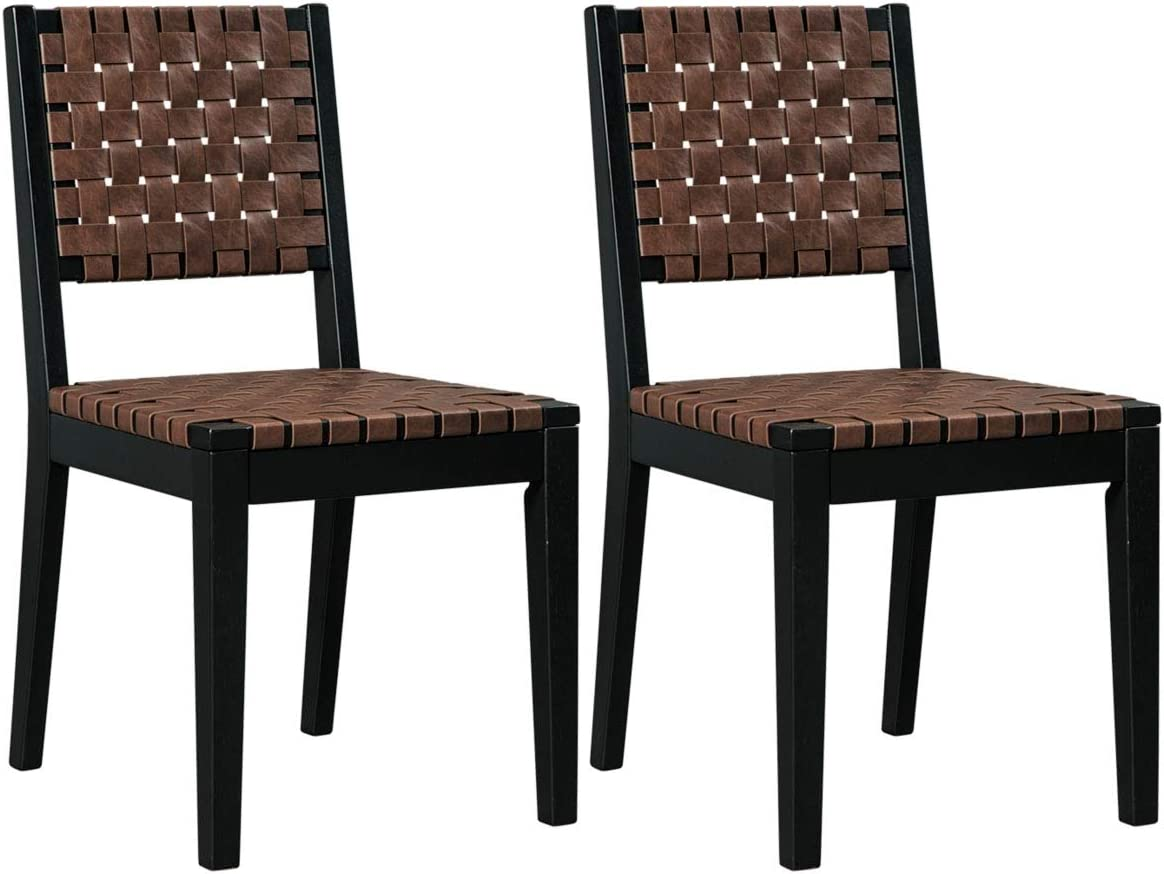Ashley Furniture Signature Design – Glosco Dining Chair – Contemporary Style – Woven Back – Set of 2 – Black Brown