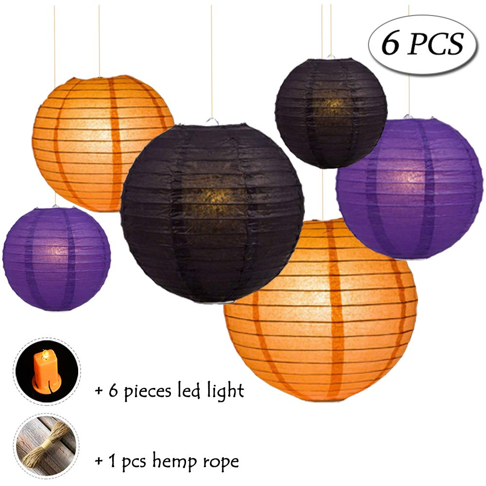 Halloween Paper Lanterns Decoration Kit, Black Orange Purple, 6 Packs, 3 Sizes, with 6 Yellow led Lights, Round Tissue Lanterns for Celebration Party House Garden Hanging Décor