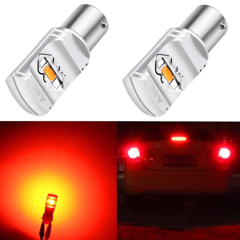 Alla Lighting 3800lm BA15S 1156 Red LED Bulbs Xtreme Super Bright BA15S 7506 1156 LED Bulb High Power ETI 56-SMD LED 1156 Bulb for Auto Cars Trucks Motor SUV Turn Signal Brake Stop Tail Lights (2pcs)