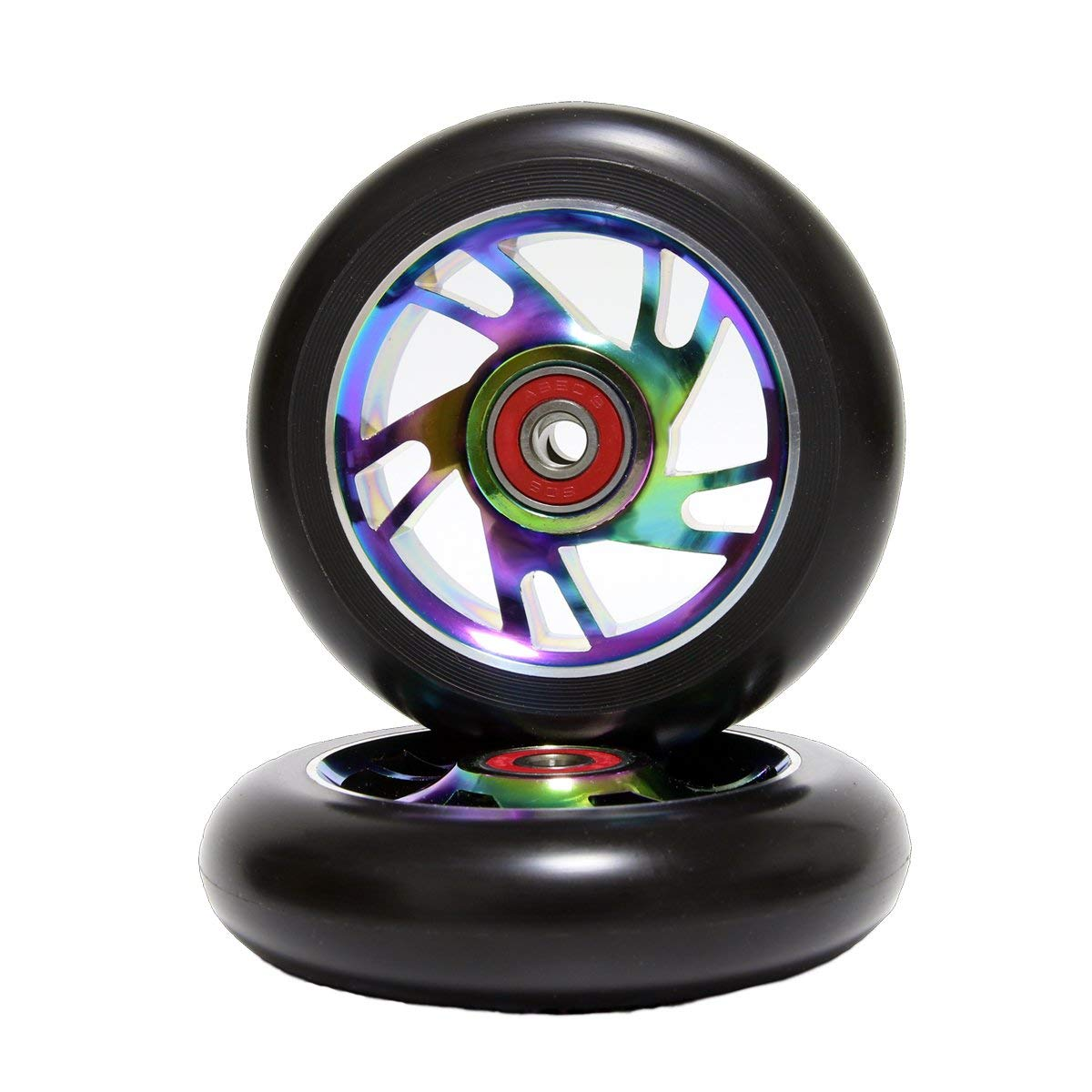 Z-FIRST 2cs Replacement 110mm Pro Scooter Wheel with ABEC 9 Bearings Fit for MGP/Razor/Lucky Pro Scooters Rainbow