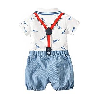 FCQNY Toddler Baby Boy Blue Short Sleeve Stripe Polo T-Shirt+Suspender Shorts 2Pcs