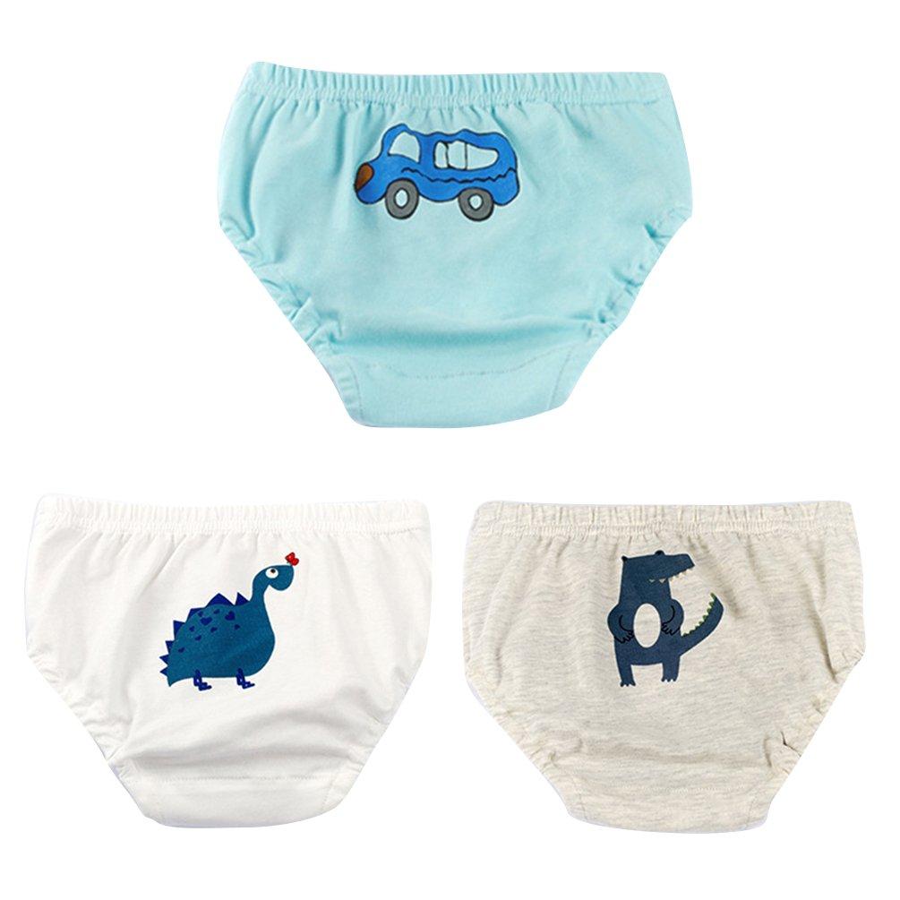 JEELINBORE Baby Jungen Weich Höschen Unterhosen Cartoon Panties Briefs Slips Trainerhosen Unterwäsche, 3er Pack | für 1-5 Jahre