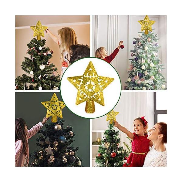 Sulida Luce superiore dell'albero di Natale, stella brillante cava 3D, decorazione per albero di Natale, albero di Natale, proiettore di stella girevole LED luci (oro) 6 spesavip