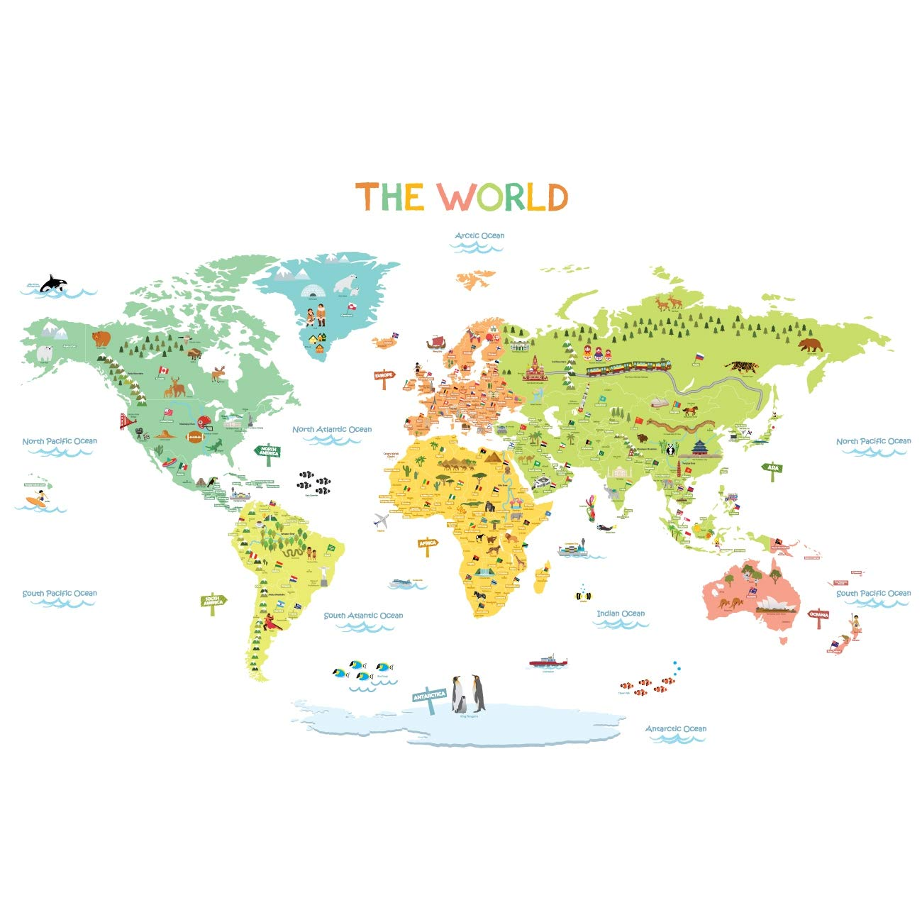 DECOWALL DWL-1616S Colourful World Map Kids Wall Stickers Wall Decals Peel and Stick Removable Wall Stickers for Kids Nursery Bedroom Living Room (Medium)