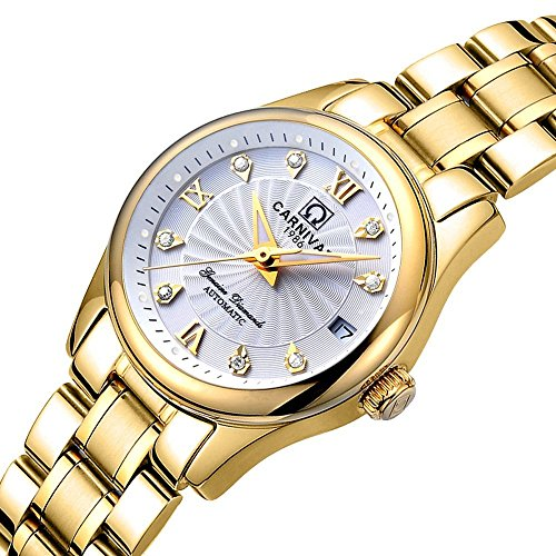 Men and Women Couples Automatic Mechanical Gold & Silver Stainless Steel Watches Gift Set Sapphire Watch (Gold White) by MASTOP (Image #2)